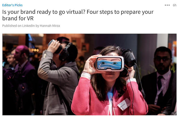 LinkedIn Pulse example of a great image about VR