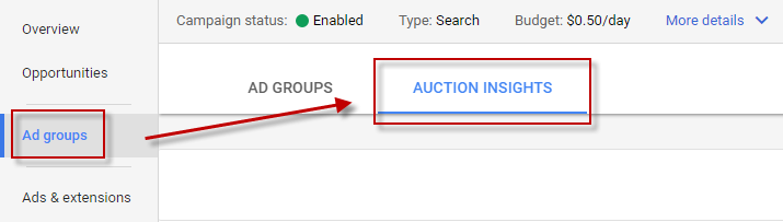Ways to find competitor keywords Google AdWords Auction Insights tab