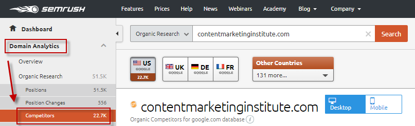 Ways to find competitor keywords SEM Rush domain analytics tool