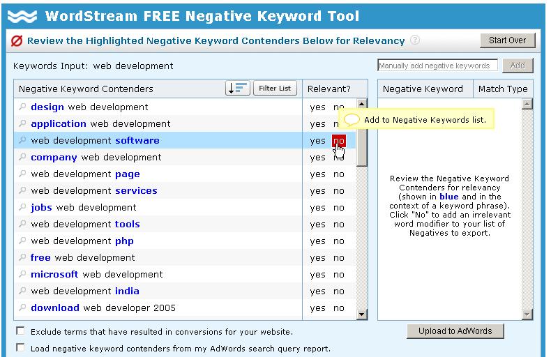 negative keyword suggestions
