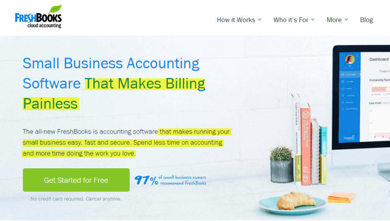 Website copy FreshBooks voice of the customer example