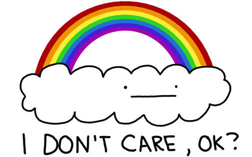 Website copy I don't care rainbow illustration