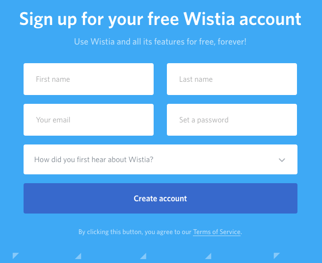 Wistia Sign Up Page