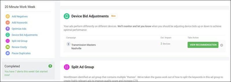 device bid adjustment alerts