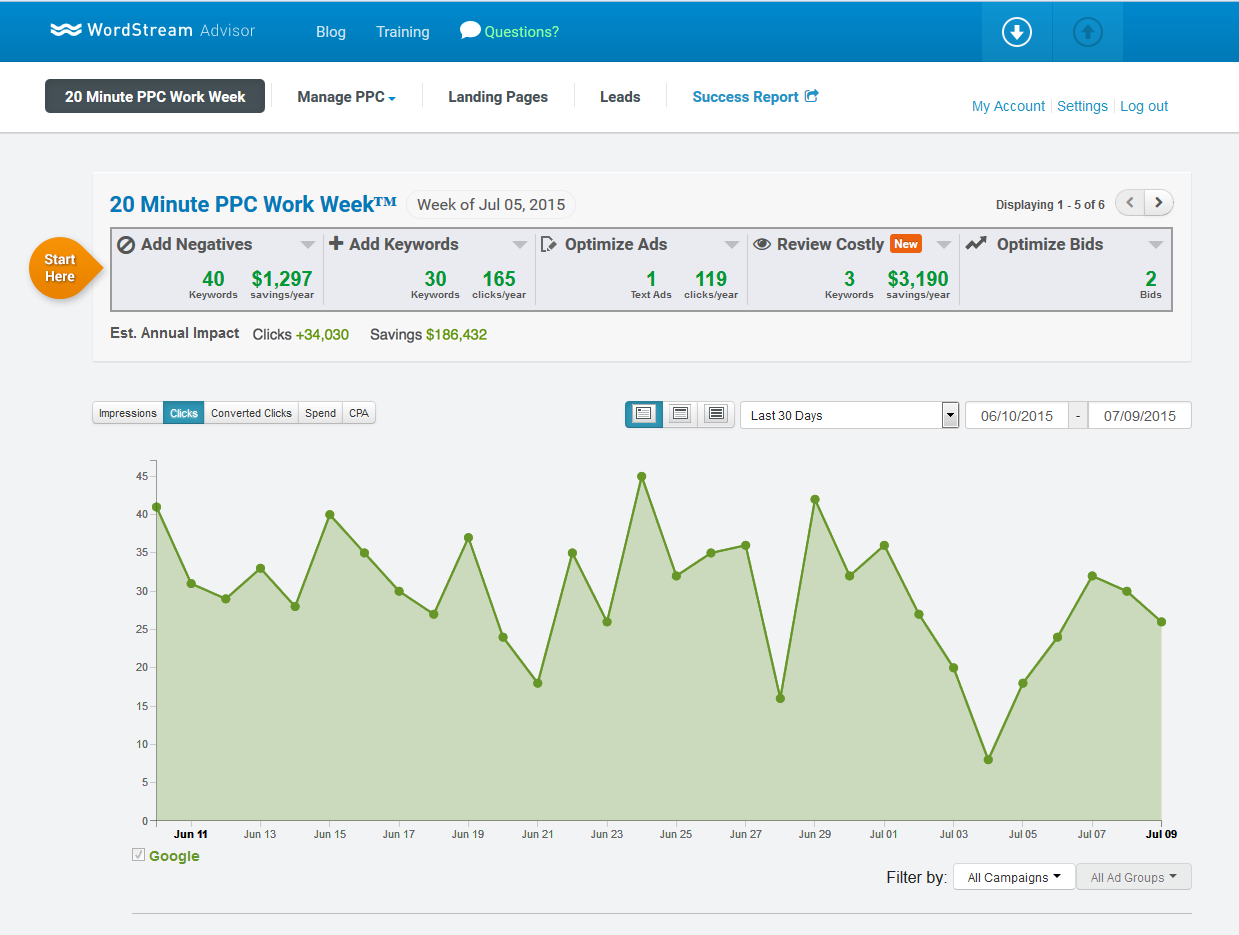 Product marketing WordStream Advisor main dashboard