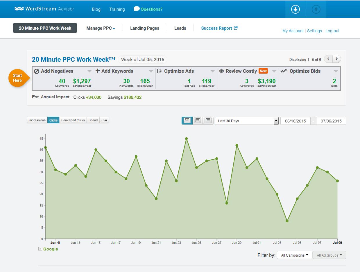 Product marketing WordStream Advisor main dashboard