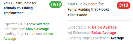 wordstream advisor keyword level quality score insights