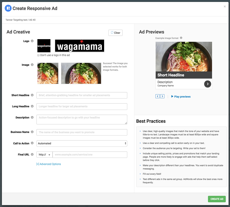 wordstream smart ads for display ad creation