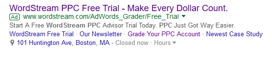 adwords extensions in ad example