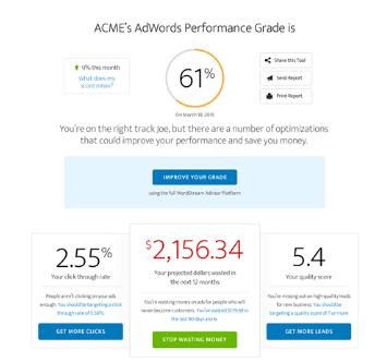 wordstream adwords performance grader