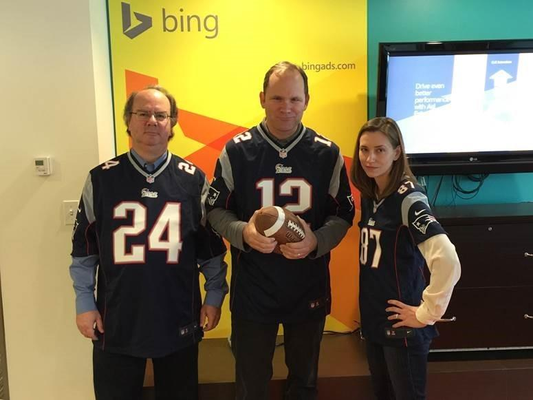 Bing team wearing New England Patriots jerseys