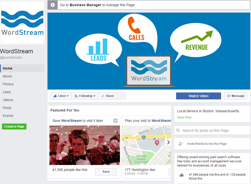 wordstream facebook page example