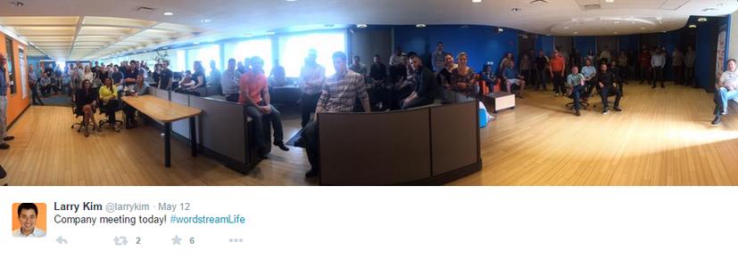 WordStream company meeting tweet Larry Kim
