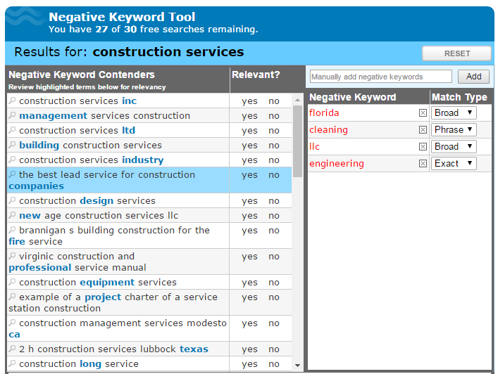 WordStream negative keyword tool results
