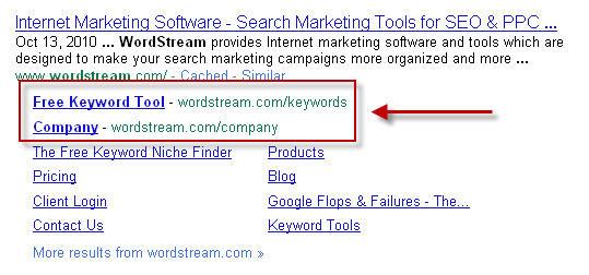 New Google sitelinks for wordstream.com