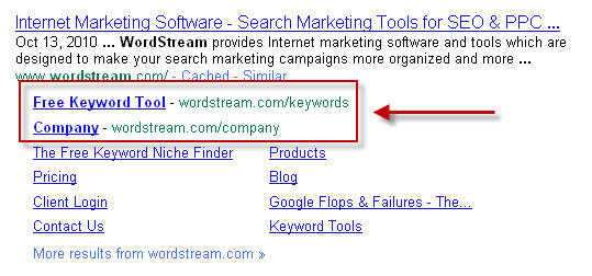 New Google sitelinks for wordstream.com