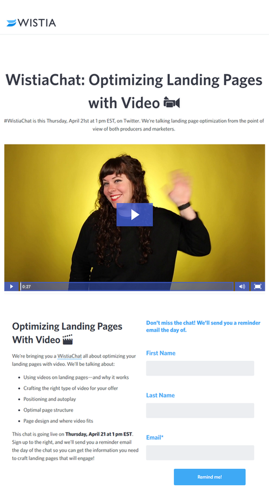 WordStream Wistia video landing page optimization Wistia landing page example