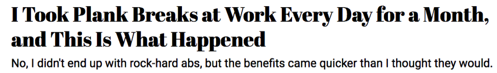 Writing Time Management Headline Plank