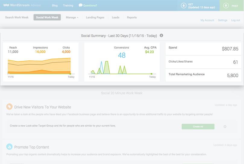 wordstream social dashboard