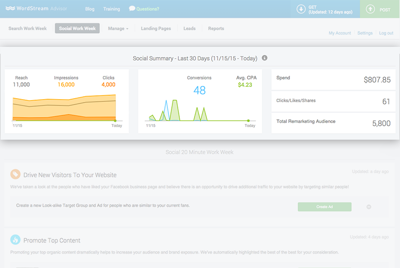 wordstream social dashboard