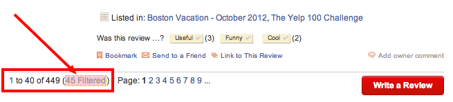 Filtered Yelp Reviews