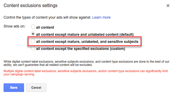 youtube ad content exclusions