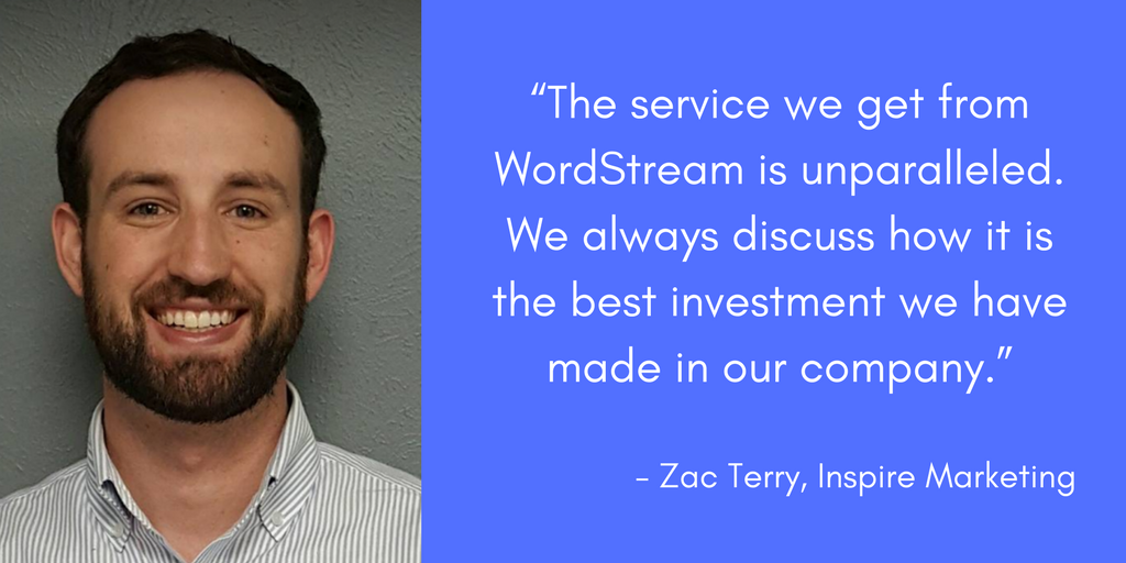 zac terry inspire marketing wordstream managed services